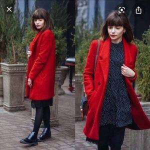 ZARA red Wool pea Coat Jacket parka oversized